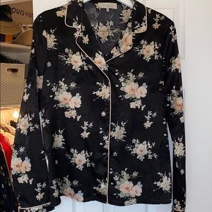 Floral Pajama Style Blouse